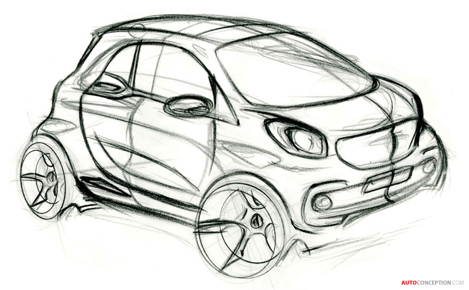 New Smart Fortwo Forfour Car Design on Volvo S60 Sketch