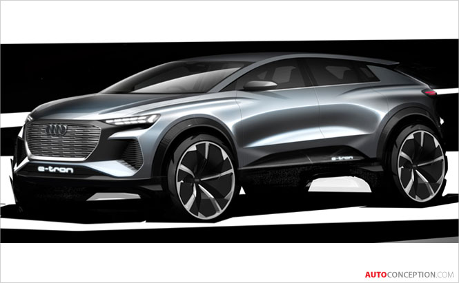 Audi Reveals Design Sketches of 'Q4 e-tron' Concept Car Ahead of Geneva Debut