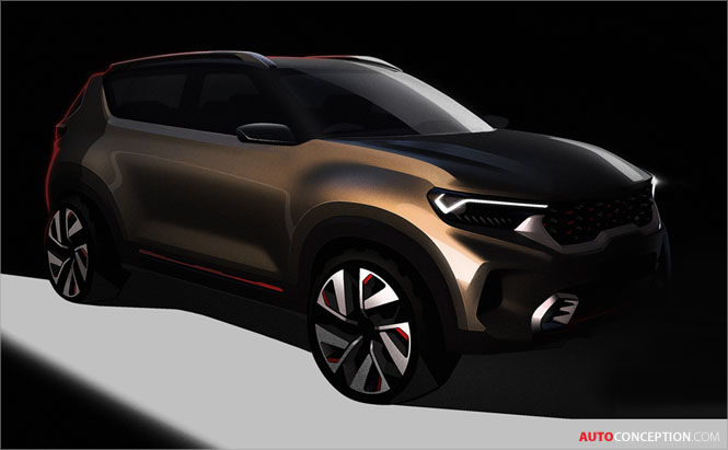 Kia Shows Design Sketches of New SUV Ahead of Delhi Reveal